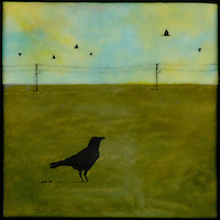 Encaustic mixed media painting of lone crow in field with telephone poles