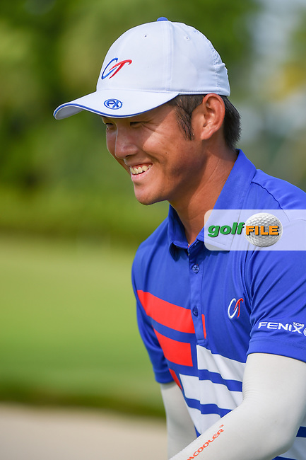 Yung-Hua LIU (TPE) departs the green on 18 following Rd 1 of the Asia-Pacific Amateur Championship, Sentosa Golf Club, Singapore. 10/4/2018.<br /> Picture: Golffile   Ken Murray<br /> <br /> <br /> All photo usage must carry mandatory copyright credit (© Golffile   Ken Murray)