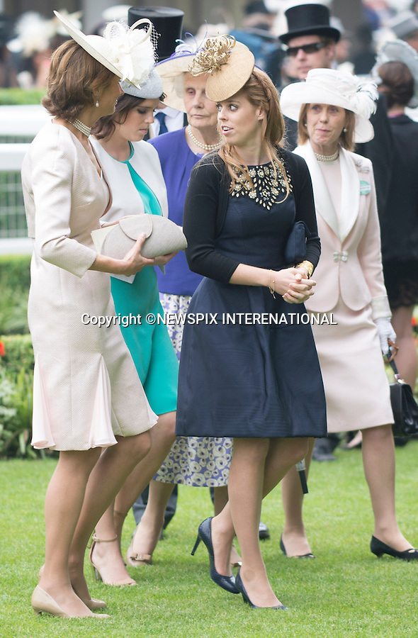PRINCESS BEATRICE, EUGENIE and ANNE<br /> attend the Royal Meeting at Ascot on Ladies Day, Ascot Racecourse, Ascot_20/06/2013<br /> Mandatory Credit Photo: &copy;Dias/NEWSPIX INTERNATIONAL<br /> <br /> **ALL FEES PAYABLE TO: &quot;NEWSPIX INTERNATIONAL&quot;**<br /> <br /> IMMEDIATE CONFIRMATION OF USAGE REQUIRED:<br /> Newspix International, 31 Chinnery Hill, Bishop's Stortford, ENGLAND CM23 3PS<br /> Tel:+441279 324672  ; Fax: +441279656877<br /> Mobile:  07775681153<br /> e-mail: info@newspixinternational.co.uk