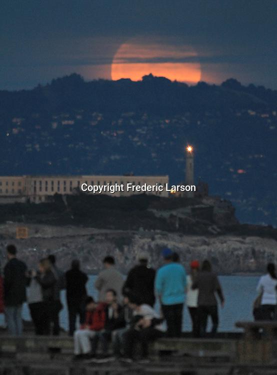 The super moon seen over Alcatraz Island, San Francisco, CA.