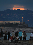 The super moon seen over Alcatraz Island, San Francisco, CA.