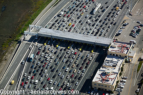 aerial photograph  automobile traffic at  toll plaza  San Francisco Oakland Bay Bridge