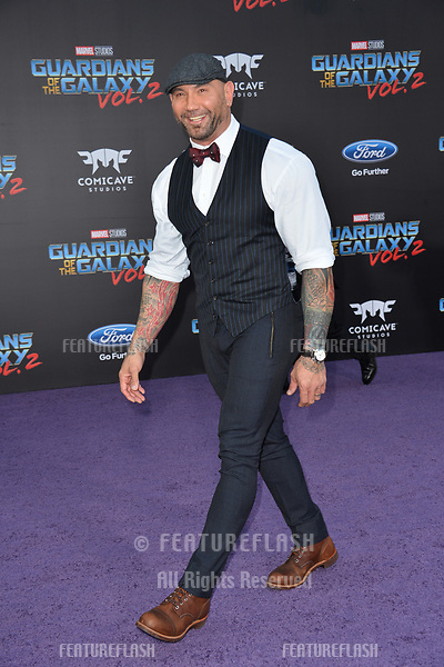 Dave Bautista at the world premiere for &quot;Guardians of the Galaxy Vol. 2&quot; at the Dolby Theatre, Hollywood. <br /> Los Angeles, USA 19 April  2017<br /> Picture: Paul Smith/Featureflash/SilverHub 0208 004 5359 sales@silverhubmedia.com