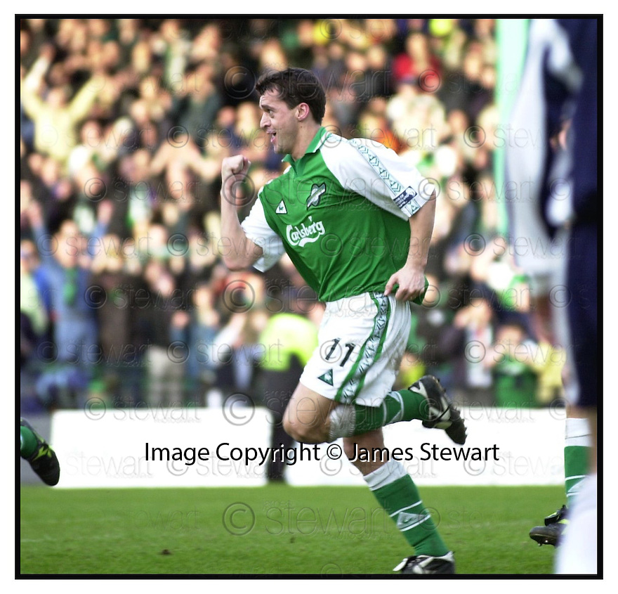 11th March 2000        Copyright Pic : James Stewart .Ref :                           .File Name : stewart01-hibs v falkirk                        .PAT MCGINLAY CELEBRATES SCORING HIBS THIRD GOAL....Payments to :-.James Stewart Photo Agency, Stewart House, Stewart Road, Falkirk. FK2 7AS      Vat Reg No. 607 6932 25.Office : +44 (0) 1324 630007    Mobile : 07721 416997.Fax     : +44 (0) 1324 630007.E-mail : jim@jspa.co.uk.If you require further information then contact Jim Stewart on any of the numbers above.........