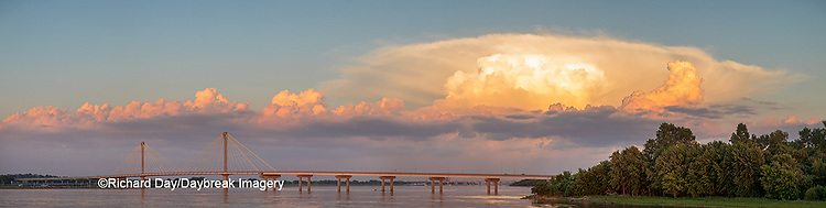 63895-15508 Clark Bridge over Mississippi River and thunderstorm (Cumulonimbus Cloud) Alton, IL