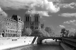 Notre Damme Cathedral and the Seinne River, Paris, France infrared