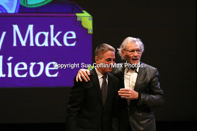 Search for Tomorrow Tony Dana on stage with Host Sir Ian McKellen at Only Make Believe on Broadway - 14th Annual Gala - on November 4, 2013 hosted by Sir Ian McKellen honoring Susan Sarandon in New York City, New York.  (Photo by Sue Coflin/Max Photos)