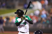 Andy Sugilio (5) of the Dayton Dragons at bat against the Bowling Green Hot Rods at Fifth Third Field on June 8, 2018 in Dayton, Ohio. The Hot Rods defeated the Dragons 11-4.  (Brian Westerholt/Four Seam Images)