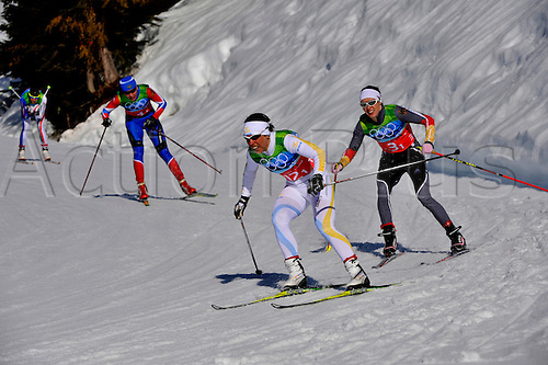 22nd February 2010, Vancouver Winter Olympics. Ladies team Sprint.  Germany (Bib Number 3) Gold, Sweden (Bib number 12) Silver and Russian Federatian (Bib Number 4) Bronze. Photo: Peter Blakeman/Actionplus. Editorial Licenses Only..