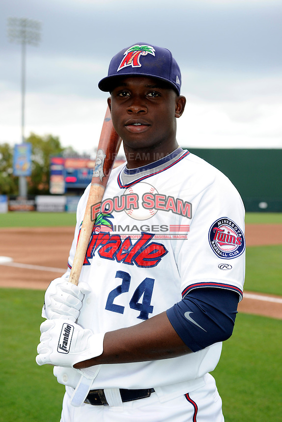 Fort Myers Miracle third baseman Miguel Sano #24 poses for a photo before a game against the Jupiter Hammerheads on April 9, 2013 at Hammond Stadium in Fort Myers, Florida.  Fort Myers defeated Jupiter 1-0.  (Mike Janes/Four Seam Images)