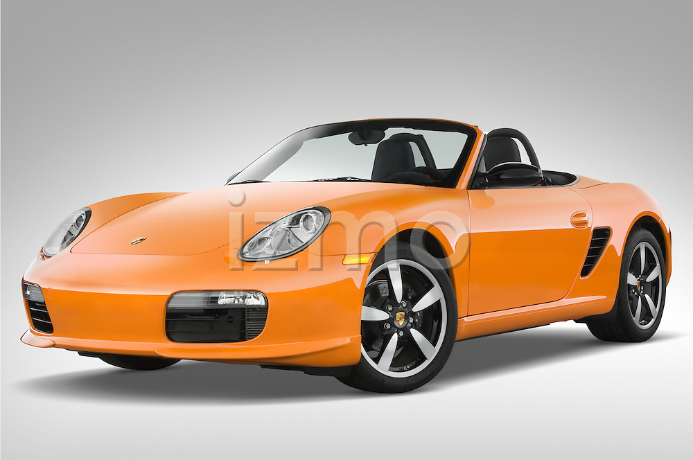 Low aggressive front three quarter view of a 2008 Porsche Boxster LE, with the top down