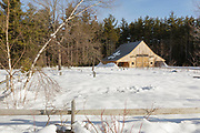 The timber frame barn, constructed in 2003, at the Russell-Colbath homestead site along the Kancamagus Highway in Albany, New Hampshire. Located in the White Mountain National Forest, this historic homestead was built in the early 1830s, likely around 1832.