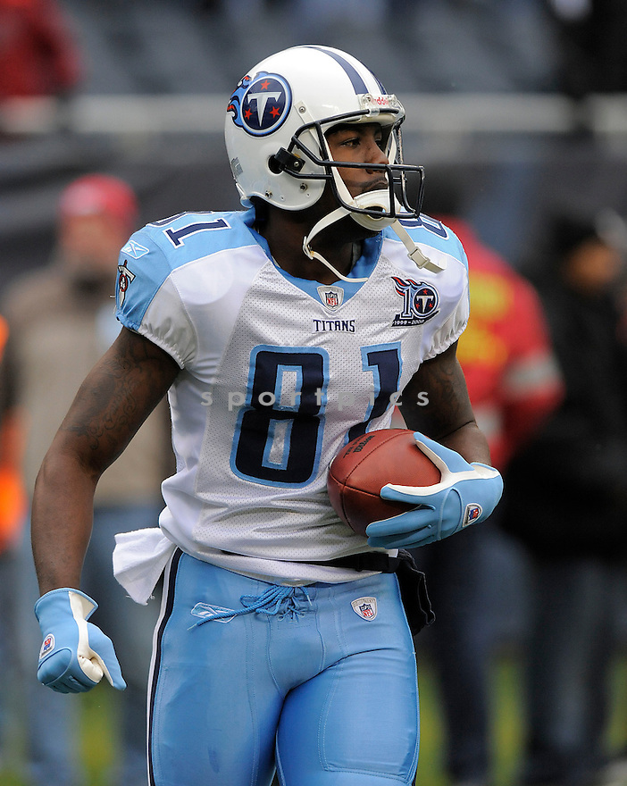 BRANDON JONES, of the Tennessee Titans in action against the Chicago Bears, during the Titans game  in Chicago, IL  on Novmeber 7, 2008..Titans win 21-14