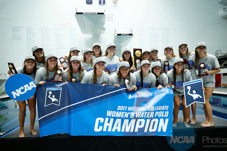INDIANAPOLIS, IN - MAY 14: Stanford University celebrates after winning the Division I Women's Water Polo Championship against UCLA held at the IU Natatorium-IUPUI Campus on May 14, 2017 in Indianapolis, Indiana. (Photo by Joe Robbins/NCAA Photos/NCAA Photos via Getty Images)