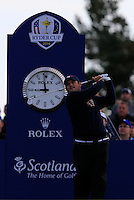 Patrick Reed (USA) on the 4th tee during the Saturday Fourball Matches of the Ryder Cup at Gleneagles Golf Club on Saturday 27th September 2014.<br /> Picture:  Thos Caffrey / www.golffile.ie