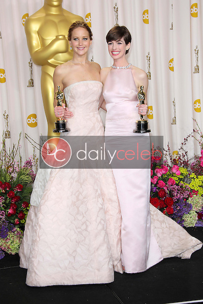Jennifer Lawrence and Anne Hathaway<br />