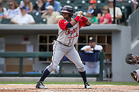 Emilio Bonifacio (18) of the Gwinnett Braves at bat against the Charlotte Knights at BB&T BallPark on May 22, 2016 in Charlotte, North Carolina.  The Knights defeated the Braves 9-8 in 11 innings.  (Brian Westerholt/Four Seam Images)