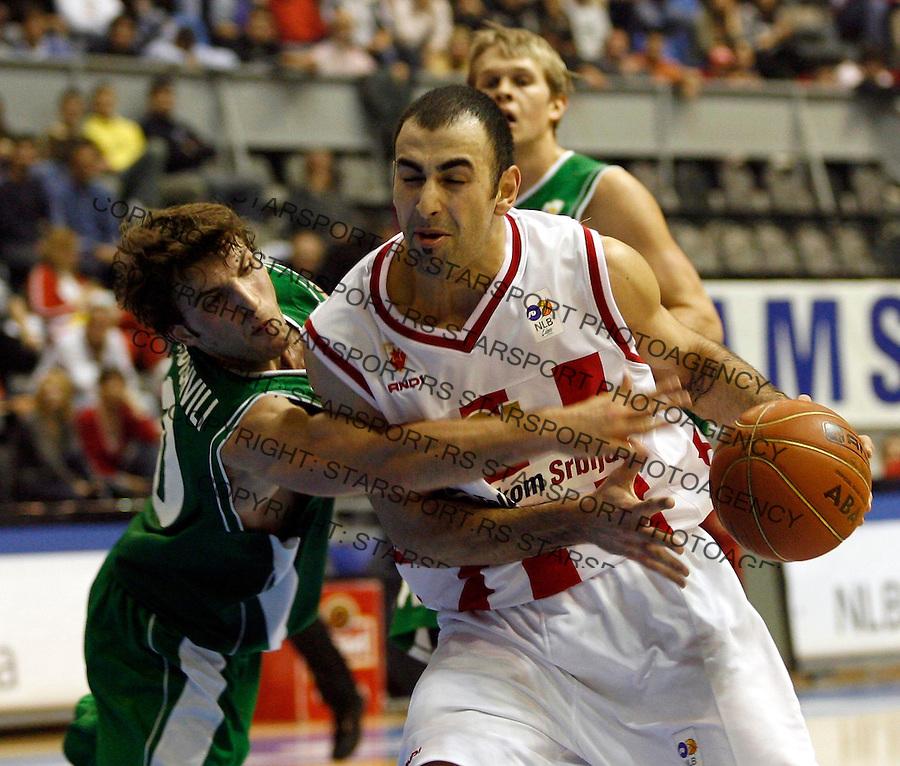 Kosarka, NLB liga, Sezona 2006/07&amp;#xA;Crvena Zvezda-Olimpija&amp;#xA;Pero Antic &amp; MANUCAR MARKOISVILI&amp;#xA;Beograd, 18.11.2006.&amp;#xA;foto: SRDJAN STEVANOVIC&amp;#xA;<br />