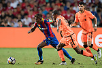 Crystal Palace midfielder Wilfried Zaha  (L) battles for the ball with Liverpool FC players during the Premier League Asia Trophy match between Liverpool FC and Crystal Palace FC at Hong Kong Stadium on 19 July 2017, in Hong Kong, China. Photo by Weixiang Lim / Power Sport Images