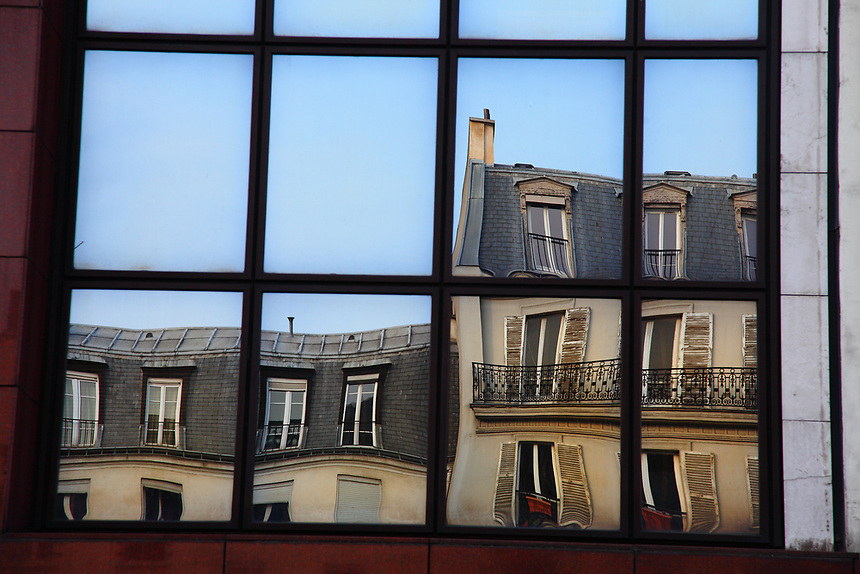 Paris: A typical reflected image on a mirror window.