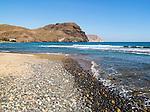 Coastal view headlands and waves Las Negras, Cabo de Gata natural park, Almeria, Spain