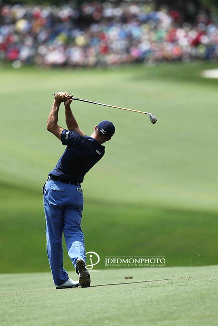 06 May 2012: Jonathan Byrd hits his approach to 15 during final round action at the the Wells Fargo Tournament at Quail Hollow Country Club, Charlotte, North Carolina. Rickie Fowler wins the tournament in a three-way playoff again D.A. Points and Rory McIlroy.