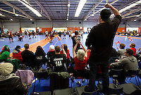 15 MAR 2014 - BIRMINGHAM, GBR - A Team Canada fan cheers on his team during the inaugural Men's Roller Derby World Cup in the Futsal Arena in Birmingham, West Midlands, Great Britain (PHOTO COPYRIGHT © 2014 NIGEL FARROW, ALL RIGHTS RESERVED)