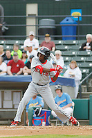 Salem Red Sox infielder Jose Vinicio (3) at bat during a game against the Myrtle Beach Pelicans at Ticketreturn.com Field at Pelicans Ballpark on May 6, 2015 in Myrtle Beach, South Carolina.  Salem defeated Myrtle Beach  5-4. (Robert Gurganus/Four Seam Images)