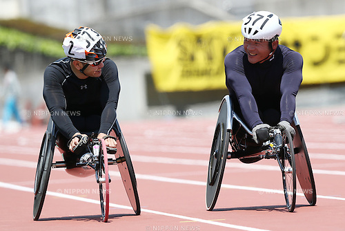 (L-R)<br /> Hiroyuki Yamamoto,<br /> Masayuki Higuchi,<br /> MAY 1, 2016 - Athletics :<br /> Japan Para Athletics Championships<br /> Men's 5000m T54 Final<br /> at Coca Cola West Sports Park, Tottori, Japan.<br /> (Photo by Shingo Ito/AFLO SPORT)