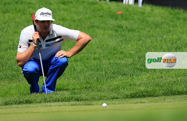 Keegan Bradley (USA) on the 15th green during Friday's Round 1 of the 2013 Bridgestone Invitational WGC tournament held at the Firestone Country Club, Akron, Ohio. 2nd August 2013.<br /> Picture: Eoin Clarke www.golffile.ie