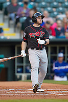 Nashville Sounds designated hitter Max Muncy (9) watches a ball go foul in a game against the Oklahoma City Dodgers at Chickasaw Bricktown Ballpark on April 15, 2015 in Oklahoma City, Oklahoma. Oklahoma City won 6-5. (William Purnell/Four Seam Images)