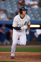 Connecticut Tigers outfielder Joey Havrilak (48) runs to first during the first game of a doubleheader against the Brooklyn Cyclones on September 2, 2015 at Senator Thomas J. Dodd Memorial Stadium in Norwich, Connecticut.  Brooklyn defeated Connecticut 7-1.  (Mike Janes/Four Seam Images)