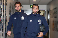 Blackburn Rovers' David Raya and Blackburn Rovers' Charlie Mulgrew<br /> <br /> Photographer Rachel Holborn/CameraSport<br /> <br /> The EFL Sky Bet Championship - Wigan Athletic v Blackburn Rovers - Wednesday 28th November 2018 - DW Stadium - Wigan<br /> <br /> World Copyright © 2018 CameraSport. All rights reserved. 43 Linden Ave. Countesthorpe. Leicester. England. LE8 5PG - Tel: +44 (0) 116 277 4147 - admin@camerasport.com - www.camerasport.com