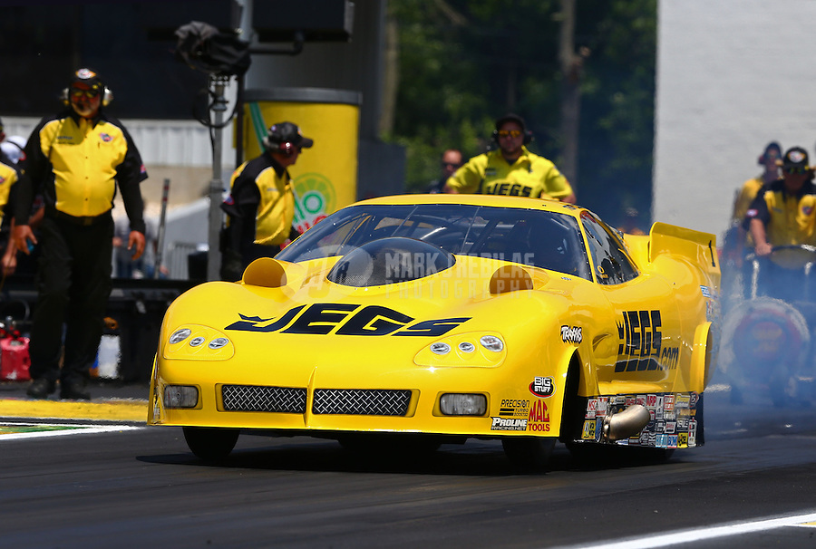 Jun. 2, 2013; Englishtown, NJ, USA: NHRA pro mod driver Troy Coughlin during the Summer Nationals at Raceway Park. Mandatory Credit: Mark J. Rebilas-