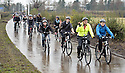 George Callaghan, Falkirk Council''s Transport Planning Manger, leads school pupils from Holland and Bo'ness Academy on their cycle tour around the Helix Path Network.
