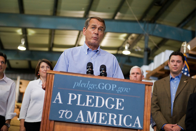"UNITED STATES - SEPTEMBER 23:  House Minority Leader John Boehner, R-Ohio, conducts a news conference in Tart Lumber Company in Sterling, Va., to unveil ""A Pledge to America,"" a governing agenda devised by House Republicans for the 111th Congress. (Photo By Tom Williams/Roll Call via Getty Images)"