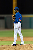 AZL Cubs 1 relief pitcher Fauris Guerrero (41) looks in for the sign during an Arizona League game against the AZL Padres 1 at Sloan Park on July 5, 2018 in Mesa, Arizona. The AZL Cubs 1 defeated the AZL Padres 1 3-1. (Zachary Lucy/Four Seam Images)