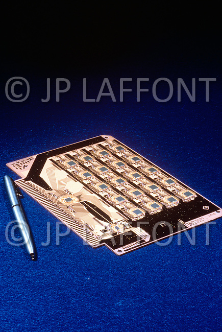 Silicon Valley, California - February 1983. An integrated circuit plaque with microchips (Hewlett Packard Company). Silicon Valley is the largest high-tech manufacturing center in the United States, and is the region most famous for innovations in software and Internet services.
