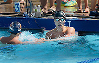 Nakoma Swim Team's Truman teDuits (left) congratulates High Point Swim Club's Andrew Martin on winning the men's 15-19 100-meter freestyle during 2019 All-City Swim and Dive on Sunday, 8/4/19 at West Side Swim Club in Madison, Wisconsin