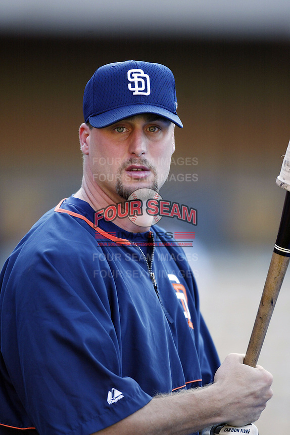 Brian Buchanon of the San Diego Padres before a 2002 MLB season game against the Los Angeles Dodgers at Dodger Stadium, in Los Angeles, California. (Larry Goren/Four Seam Images)