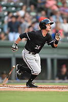 Shortstop Grant Massey (28) of the Kannapolis Intimidators runs out a batted ball in a game against the Greenville Drive on Friday, July 14, 2017, at Fluor Field at the West End in Greenville, South Carolina. Greenville won, 2-0. (Tom Priddy/Four Seam Images)