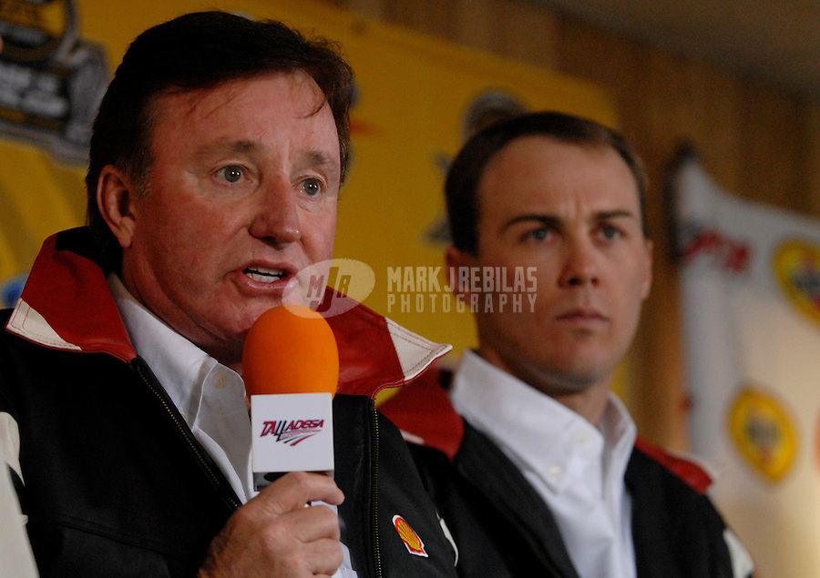 Oct 7, 2006; Talladega, AL, USA; Nascar Nextel Cup driver Kevin Harvick (29) and car owner Richard Childress announce new sponsor Shell prior to qualifying for the UAW Ford 500 at Talladega Superspeedway. Mandatory Credit: Mark J. Rebilas