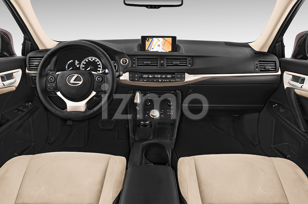 Stock photo of straight dashboard view of a 2015 Lexus CT Executive 5 Door Hatchback 2WD Dashboard