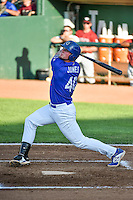 Matt Jones (40) of the Ogden Raptors at bat against the Idaho Falls Chukars in Pioneer League action at Lindquist Field on June 22, 2015 in Ogden, Utah. The Chukars defeated the Raptors 4-3 in 11 innings. (Stephen Smith/Four Seam Images)