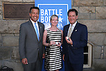 From left, Gov. Brian Sandoval, Danielle McVickers and Lt. Gov. Brian Krolicki pose with their medallions from the fourth and final in a commemorative Sesquicentennial series at the Nevada State Museum, in Carson City, Nev., on Wednesday, Sept. 3, 2014. <br /> Photo by Cathleen Allison