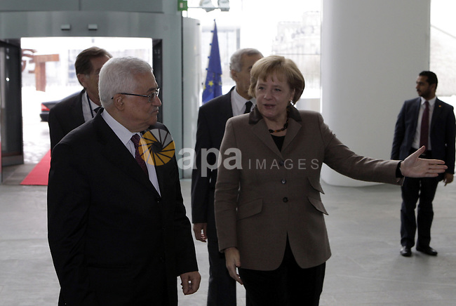 Palestinian President Mahmoud Abbas (Abu Mazen) during a meeting with German Chancellor Angela Merkel in Berlin on Feb 1,2010. Photo by Thaer Ganaim