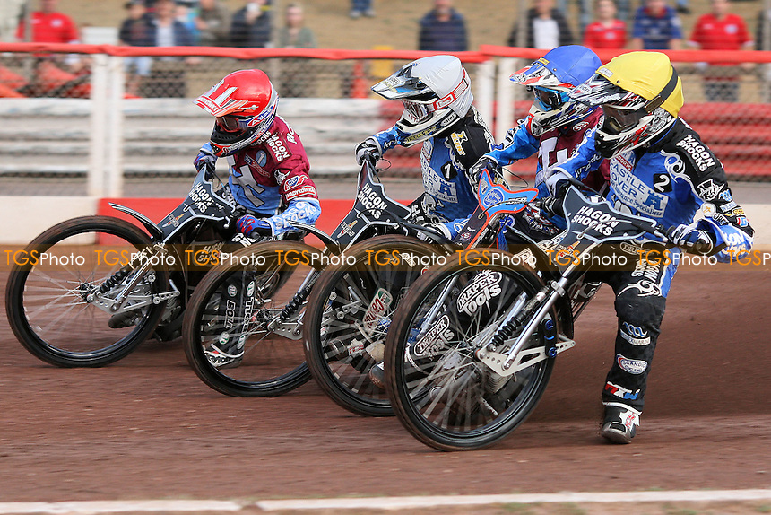 Heat 1: Lee Richardson (red), Kauko Nieminen (blue) Chris Holder (white) and Darcy Ward - Lakeside Hammers vs Poole Pirates - Sky Sports Elite League Speedway at Arena Essex Raceway, Purfleet, Essex - 02/08/10 - MANDATORY CREDIT: Gavin Ellis/TGSPHOTO - Self billing applies where appropriate - Tel: 0845 094 6026