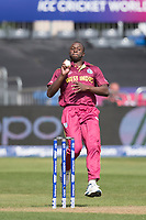 Kemar Roach (West Indies) in action during West Indies vs New Zealand, ICC World Cup Warm-Up Match Cricket at the Bristol County Ground on 28th May 2019