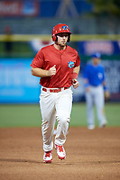 Clearwater Threshers designated hitter Austin Listi (34) runs the bases during a game against the Dunedin Blue Jays on April 6, 2018 at Spectrum Field in Clearwater, Florida.  Clearwater defeated Dunedin 8-0.  (Mike Janes/Four Seam Images)