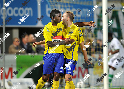 2013-09-20 / Voetbal / seizoen 2013-2014 / KVC Westerlo - Boussu Dour /  Raphael Lecomte (r.) scoorde de 1-0. Hier viert hij met Ruiz.<br /><br />Foto: Mpics.be
